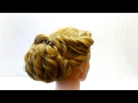 Прическа на вечер. Прическа на праздник. Evening hairstyle for medium hair