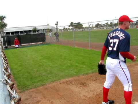 Stephen Strasburg Warming Up From The Stretch