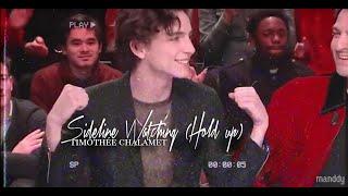 timothée chalamet | sideline watching (hold up)