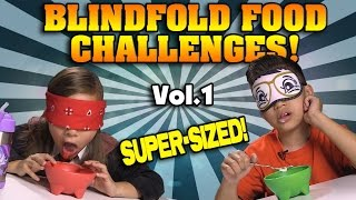 BLINDFOLD FOOD CHALLENGES!!! OREOS, PRINGLES, CHICKEN NUGGETS Compilation! [SUPER SIZE ME WEEK]