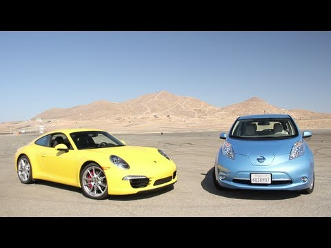 2012 Nissan Leaf vs. 2012 Porsche 911 Carrera S - CAR and DRIVER
