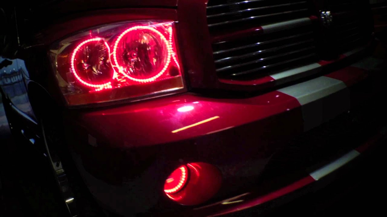 2006 Dodge Ram Dual Color Red/White LED Halo Kit installed ...