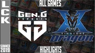 GEN vs KZ Highlights ALL GAMES | LCK Summer 2019 Week 6 Day 3 | Gen.G vs King-Zone DragonX