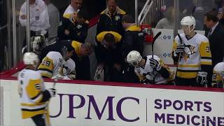 Gotta See It: Letang falls through the bench door