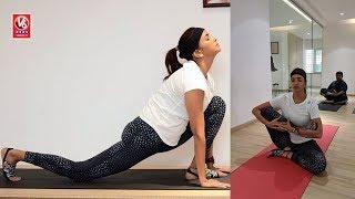 Manchu Lakshmi Performs Yoga Asanas In Ayyappa Society | 4th International Yoga Day | V6 News