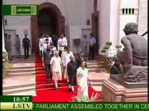President Pranab Mukherjee arrives to address Joint session of Parliament