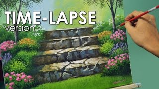 Time-lapse Acrylic Painting Demo - Stairway to Flower Garden by JMLisondra