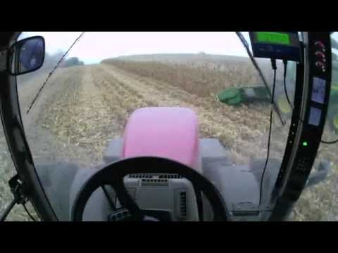 Harvesting Corn Running 305 Case IH Magnum & Kinze 1050 Grain Cart 10-20-2011