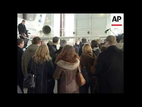 Putin and Medvedev inspecting Russian airforce flight research centre