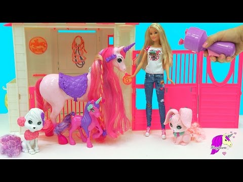 Unicorn Has Baby Foal - Endless Kingdom Barbie Royal Dog, Horse, Bunny Pets