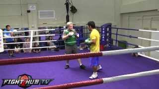 Manny Pacquiao vs. Brandon Rios: Pacquiao mitt workout with Freddie Roach