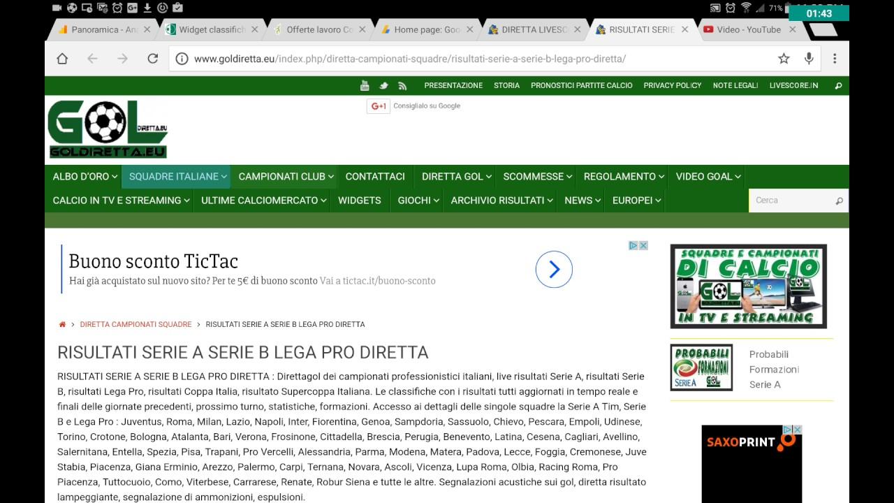 Risultati In Diretta Serie A Serie B Lega Pro Youtube