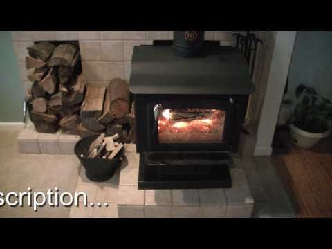 Our wood stove burning. operation and information.