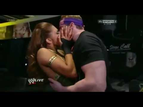 Zack Ryder Kisses Eve Torres   WWE Raw 3/5/12 Backstage.