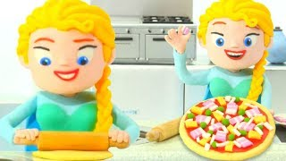 PRINCESS ELSA COOKING PIZZA ❤ SUPERHERO PLAY DOH CARTOONS FOR KIDS