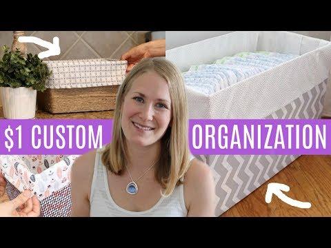 DOLLAR TREE DIY 💚  $1 Custom Organization Boxes (NO SEW!)
