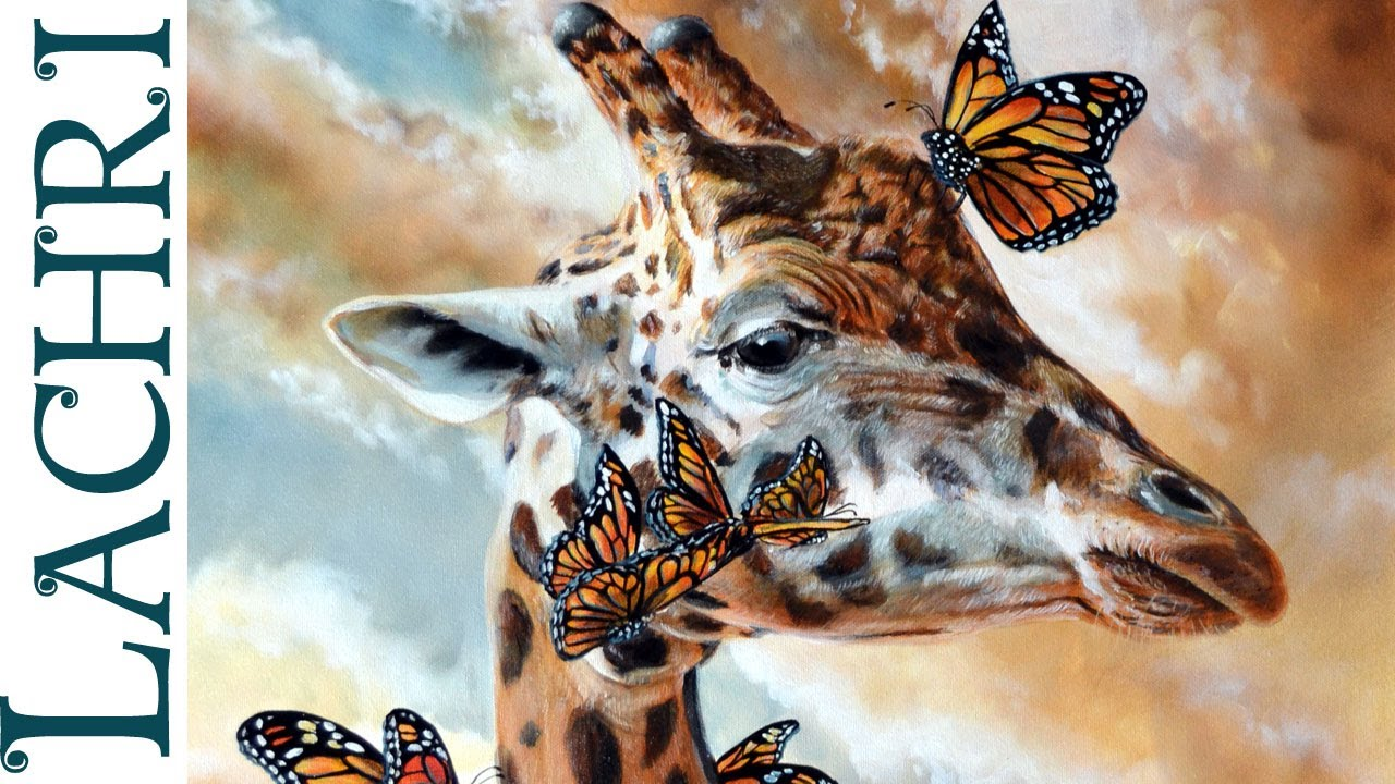 Oil Paint A Butterfly On Canvas