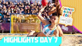 Beach Handball medals go to Spain and Argenina   YOG 2018 Day 7   Top Moments
