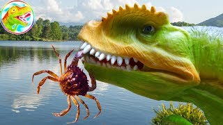 Dinosaur Tyrannosaurs drop in nature - toy A387T ToyTV
