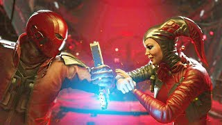 Injustice 2 - Red Hood vs Harley Quinn - All Intro Dialogue, Super Moves And Clash Quotes