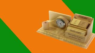 Bộ lịch gỗ để bàn có đồng hồ, chỗ cắm bút và namecard - Maithanhbao.com