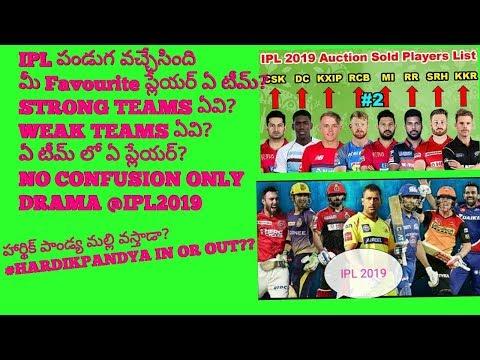 IPL 2019 ఏ టీమ్ లో ఏ ప్లేయర్?ఏ టీమ్ Strong గా ఉంది?#ipl2019