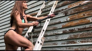 Pressure washing reality star. Painting cedar siding. 50 year old youtube star, Farm Girl