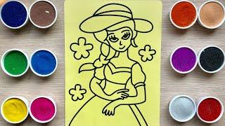 Tô màu tranh cát tiểu thư bá tước công chúa - Colored sand painting toys - Đồ chơi trẻ em Chim Xinh