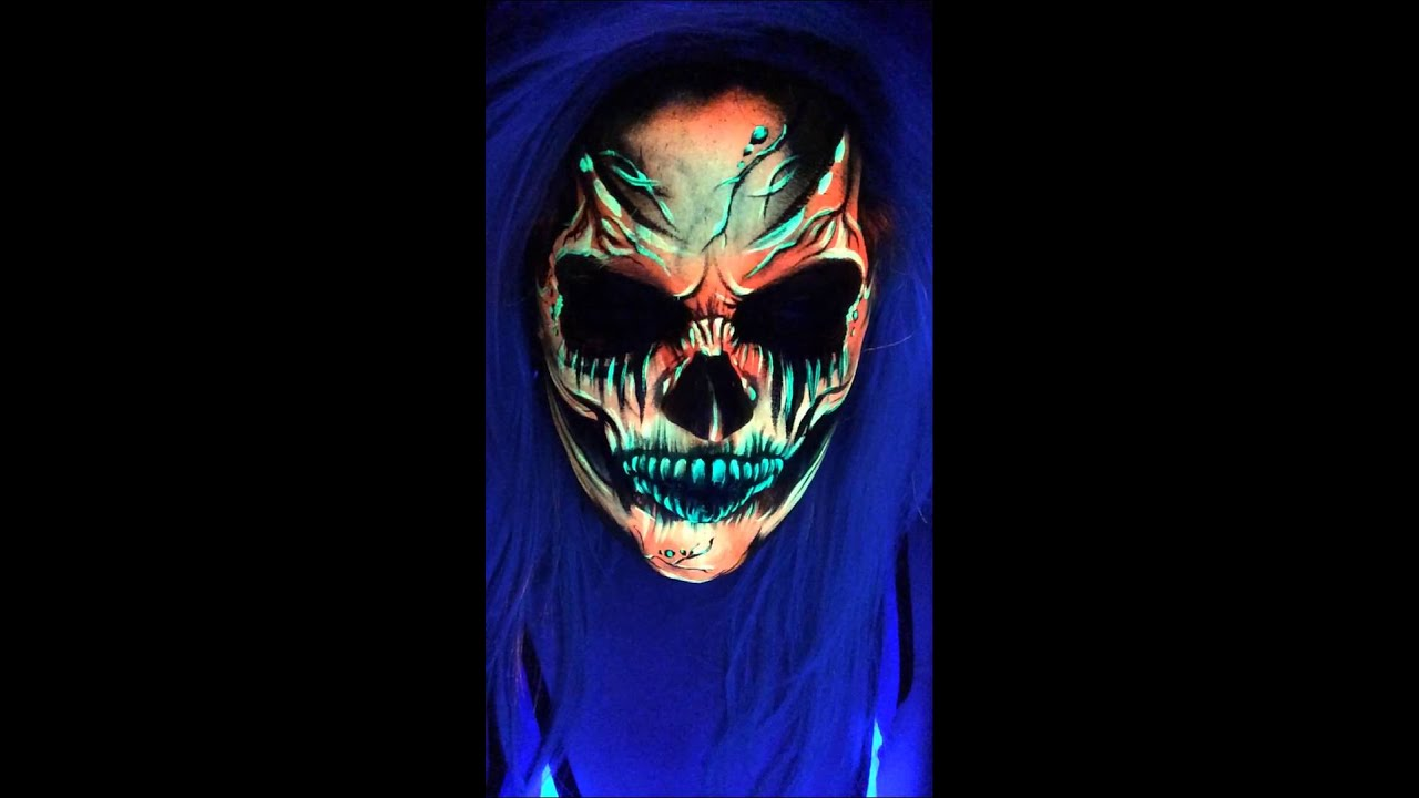 uv blacklight skull face paint kate monroe artistry. Black Bedroom Furniture Sets. Home Design Ideas