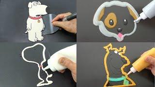 Dog Cartoons and Characters Pancake Art - Family Guy Brian, Dog Emoji, Snoopy, Scooby Doo