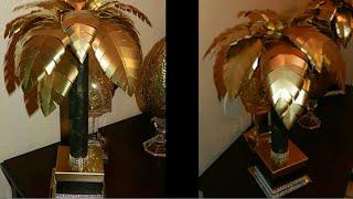 Elegant Tropical Table Lamp DIY| Dollar Tree DIY Lamp| Black & Gold Home Decor