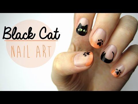 Nail Art for Halloween: Black Cat Design!