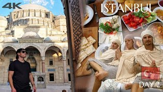 AMAZING TURKISH BATH & BREAKFAST 4K 🇹🇷😱 Istanbul Turkey Travel Vlog Day 2 (Must Try Food Tour)