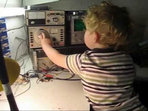 2.5yr old grandson having fun in my amateur radio lab