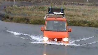 Dangerous. Crossing 4x4 river caution. Volkswagen T5 Transporter 4motion. Iceland.