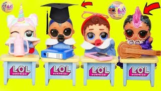 LOL Surprise Dolls Lil Sisters in Playmobil SCHOOL Dress Room Police Punk - Confetti Pop Toy Video