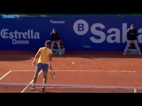 Nishikori Lobs Hot Shot Against Nadal Barcelona 2016