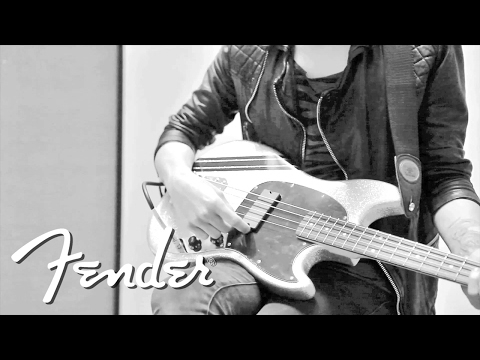 Mikey Way on his Squier Mustang Bass