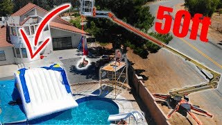 Crane ROPE SWING into Pool! * 50FT DROP*