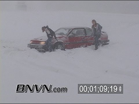 3/18/2005 Blizzard Video. Bad winter weather driving conditions stock video