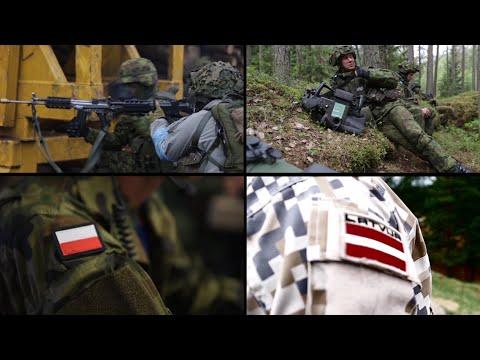 Four NATO battalions deploying to Estonia, Latvia, Lithuania and Poland.