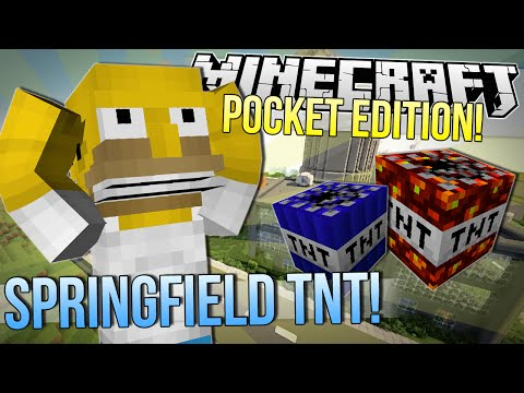 Minecraft Pocket Edition   BLOWING UP SPRINGFIELD   Too Much TNT Mod Showcase