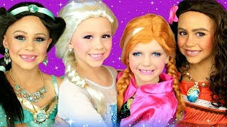 Disney Princess Makeup and Costumes Compilation! Elsa and Anna, Moana, and Jasmine