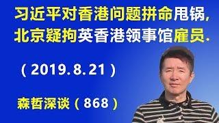 """习近平对香港问题拼命""""甩锅"""",北京被疑拘捕英国驻香港领事馆一名雇员. (2019.8.21)"""