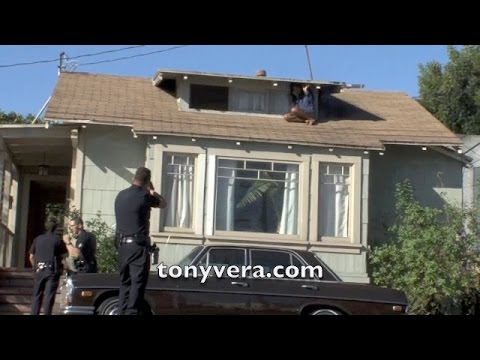 LA cops rescue woman from rooftop burglar