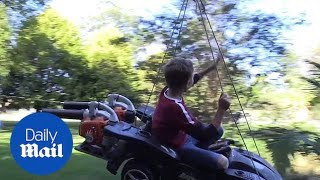 Father builds flying toy car powered by leaf blower for kids