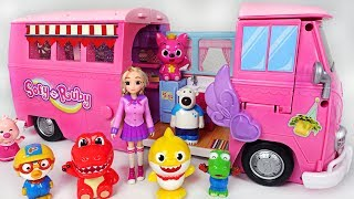 Baby Shark and Pororo go to camping with Sophie Ruby camper! - PinkyPopTOY