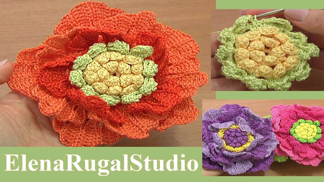 Roses Knitting Centre : Crochet large flower tutorial part of