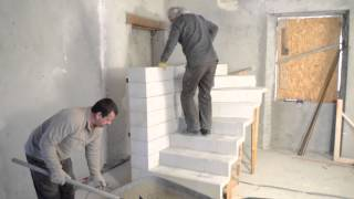 Monter un escalier b ton double quart tournant en kit for Monter un escalier escamotable
