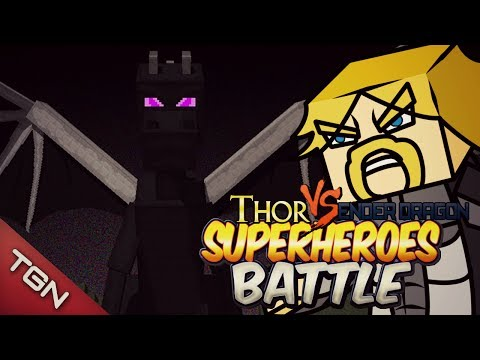 THOR VS ENDER DRAGON - SUPER HEROES BATTLE - Minecraft Arena